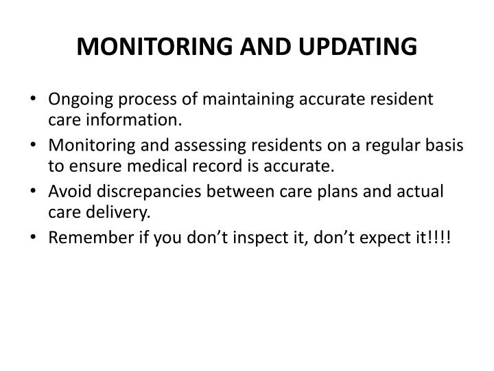 MONITORING AND UPDATING