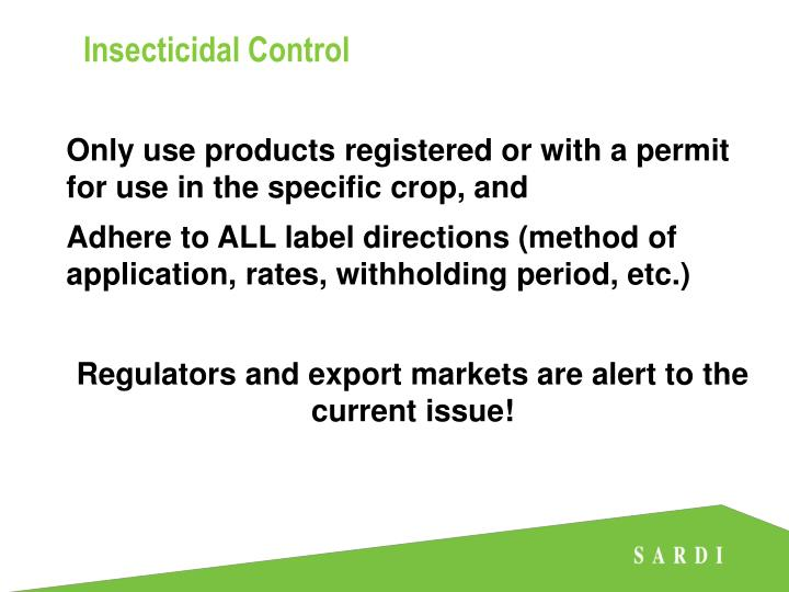 Insecticidal Control