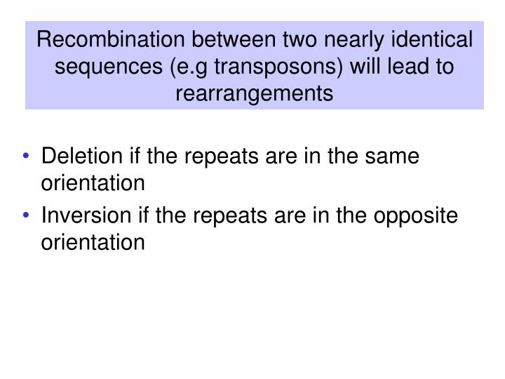 Recombination between two nearly identical sequences (e.g transposons) will lead to rearrangements