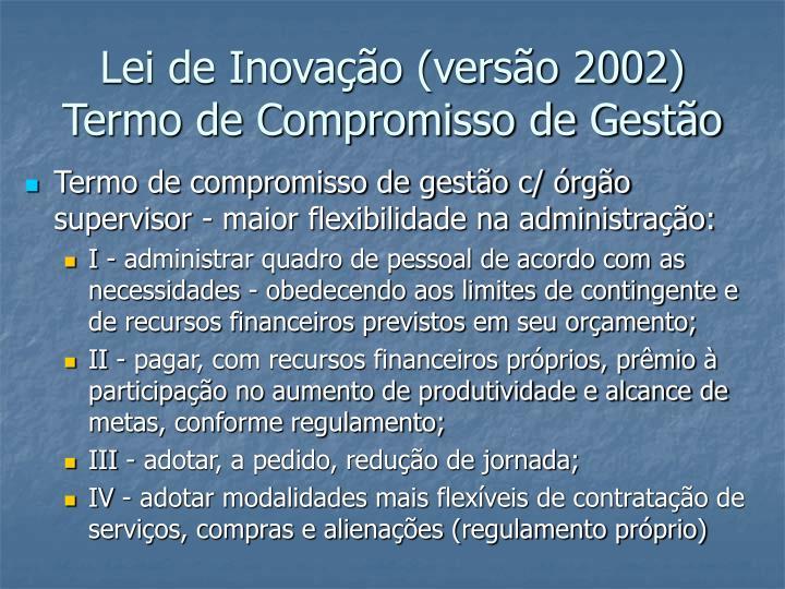 Lei de Inovação (versão 2002)