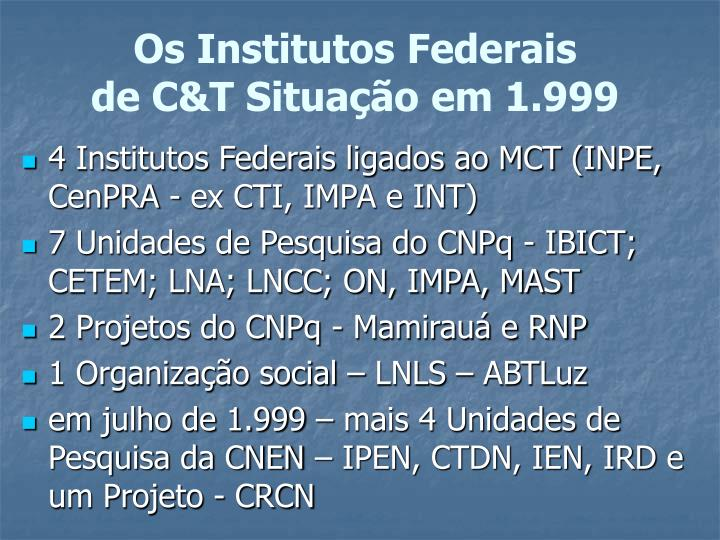 Os Institutos Federais
