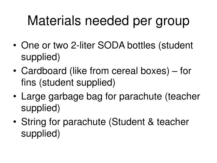 Materials needed per group