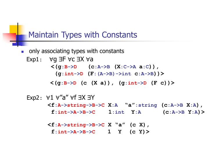 Maintain Types with Constants