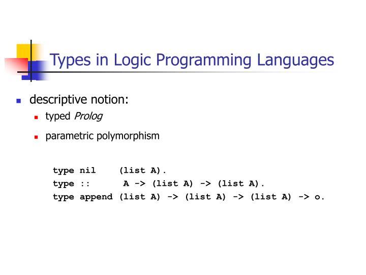Types in Logic Programming Languages