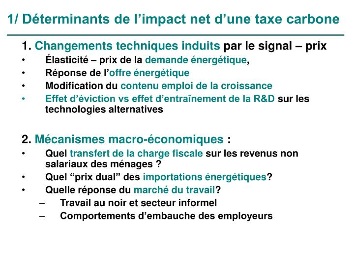 1/ Déterminants de l'impact net d'une taxe carbone