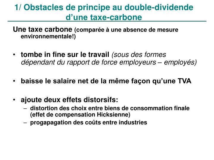 1/ Obstacles de principe au double-dividende d'une taxe-carbone