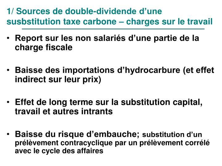 1/ Sources de double-dividende d'une susbstitution taxe carbone – charges sur le travail