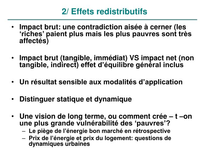 2/ Effets redistributifs
