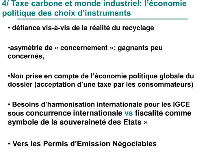 4/ Taxe carbone et monde industriel: l'économie politique des choix d'instruments
