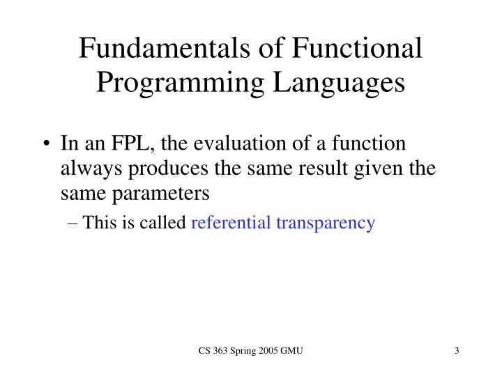 Fundamentals of functional programming languages1