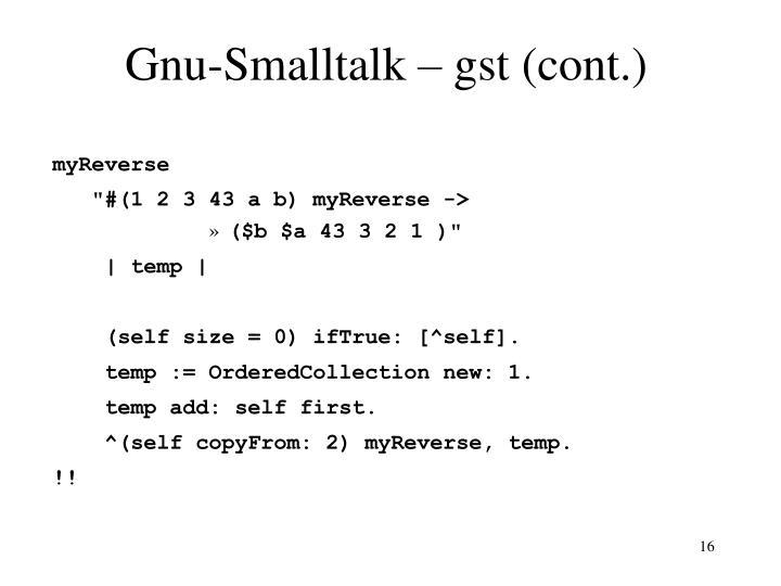 Gnu-Smalltalk – gst (cont.)