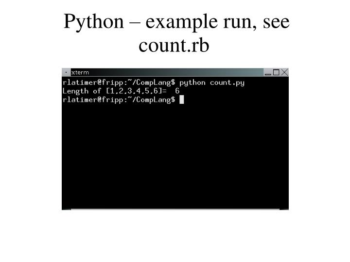 Python – example run, see count.rb