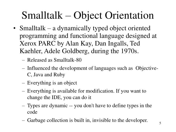 Smalltalk – Object Orientation