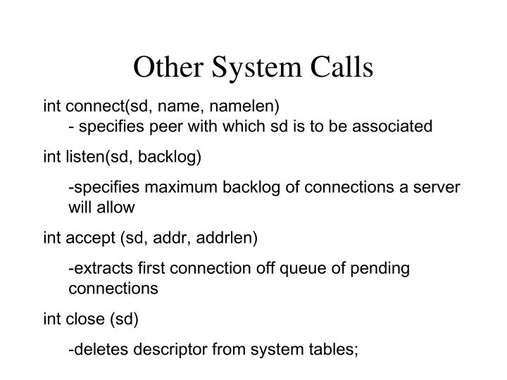 Other System Calls