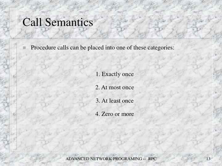 Call Semantics