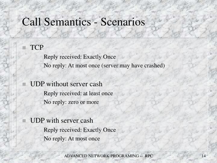 Call Semantics - Scenarios