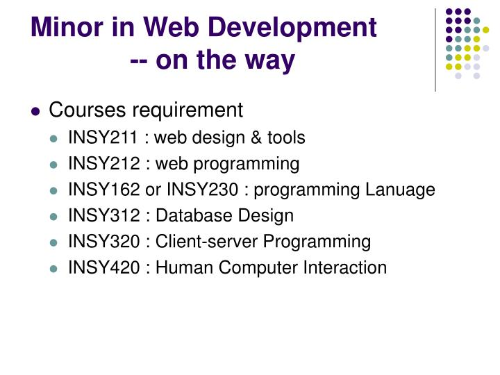 Minor in Web Development