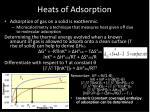 heats of adsorption