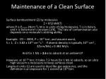 maintenance of a clean surface