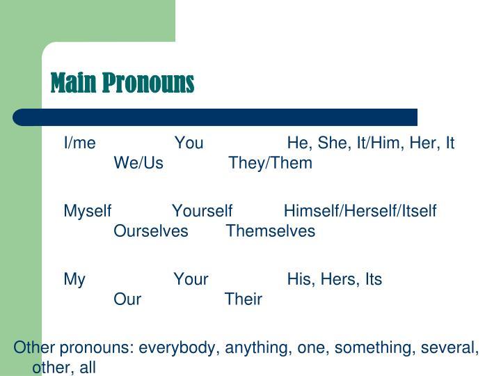 Main Pronouns