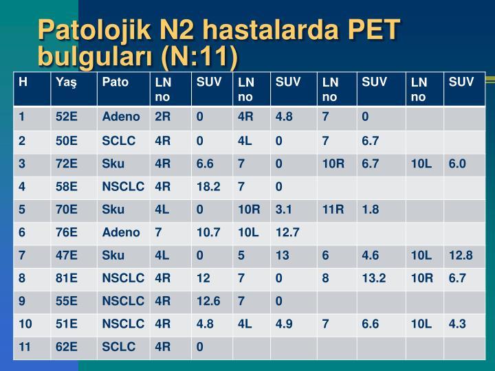 Patolojik N2 hastalarda PET bulguları (N:11)