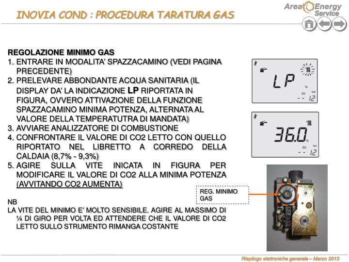 INOVIA COND : PROCEDURA TARATURA GAS