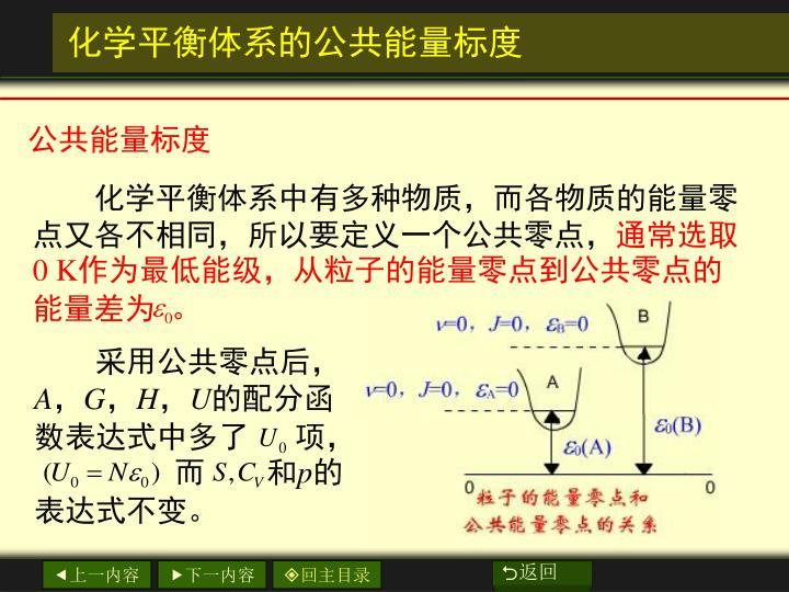 化学平衡体系中有多种物质,而各物质的能量零点又各不相同,所以要定义一个公共零点,
