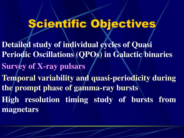 Scientific Objectives