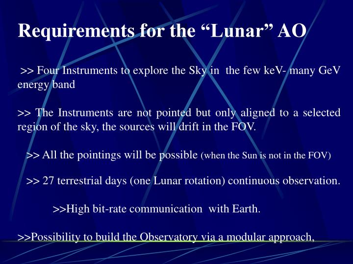 "Requirements for the ""Lunar"" AO"