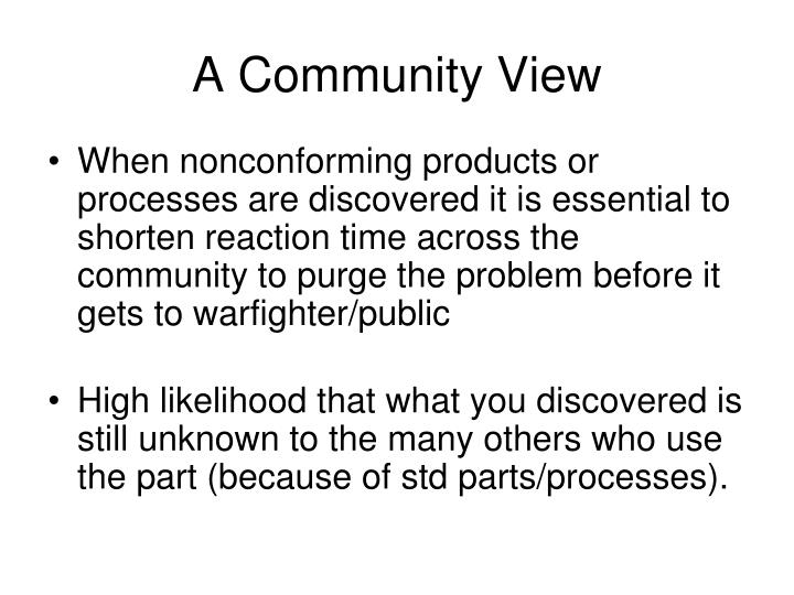 A Community View