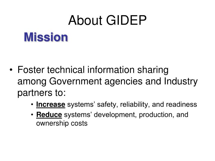 About gidep