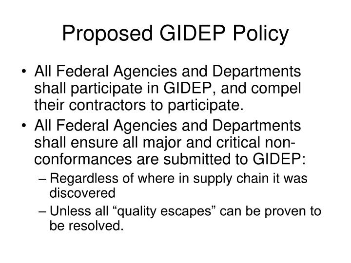 Proposed GIDEP Policy