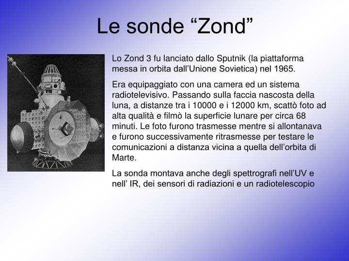 """Le sonde """"Zond"""""""