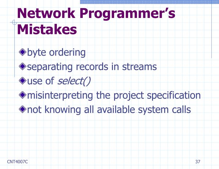 Network Programmer's Mistakes