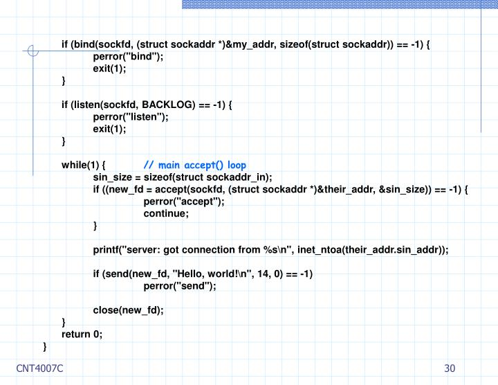 if (bind(sockfd, (struct sockaddr *)&my_addr, sizeof(struct sockaddr)) == -1) {