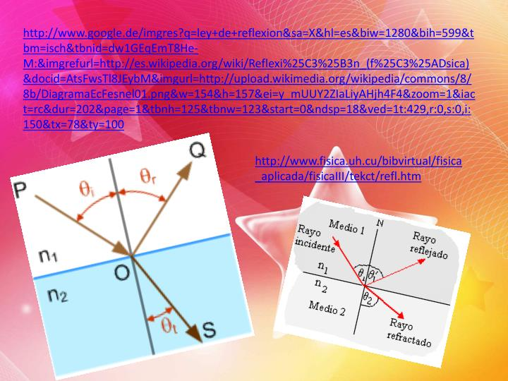 http://www.google.de/imgres?q=ley+de+reflexion&sa=X&hl=es&biw=1280&bih=599&tbm=isch&tbnid=dw1GEqEmT8He-M:&imgrefurl=http://es.wikipedia.org/wiki/Reflexi%25C3%25B3n_(f%25C3%25ADsica)&docid=AtsFwsTl8JEybM&imgurl=http://upload.wikimedia.org/wikipedia/commons/8/8b/DiagramaEcFesnel01.png&w=154&h=157&ei=y_mUUY2ZIaLiyAHjh4F4&zoom=1&iact=rc&dur=202&page=1&tbnh=125&tbnw=123&start=0&ndsp=18&ved=1t:429,r:0,s:0,i:150&tx=78&ty=100