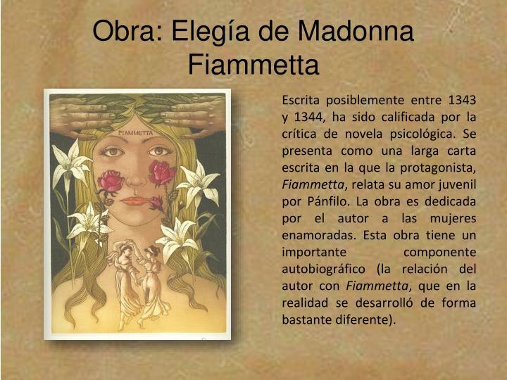 Obra: Elegía de Madonna Fiammetta