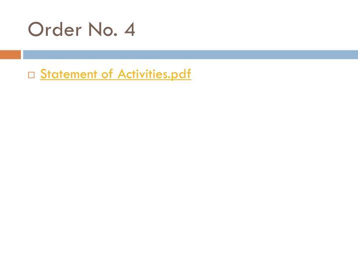 Order No. 4