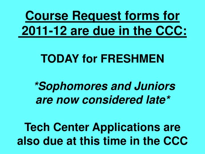 Course Request forms for