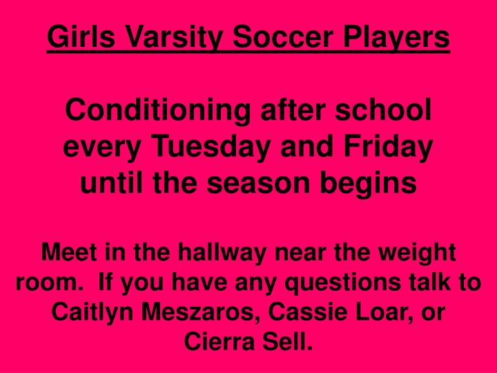 Girls Varsity Soccer Players