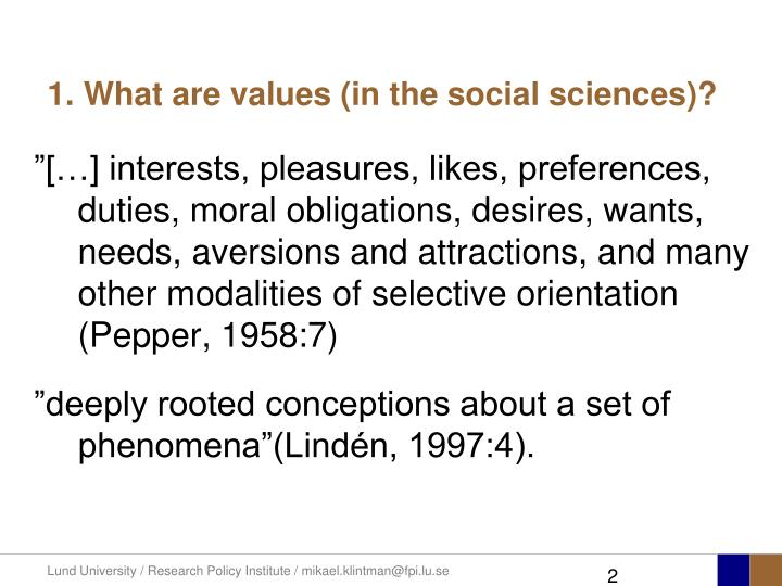 1 what are values in the social sciences