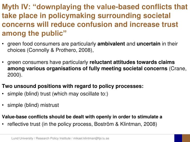 "Myth IV: ""downplaying the value-based conflicts that take place in policymaking surrounding societal concerns will reduce confusion and increase trust among the public"""