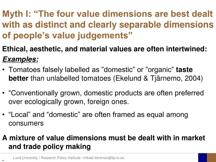 "Myth I: ""The four value dimensions are best dealt with as distinct and clearly separable dimensions of people's value judgements"""