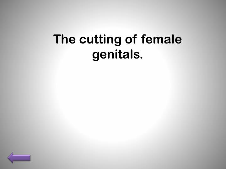 The cutting of female genitals.
