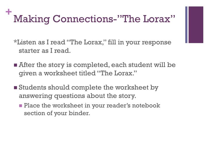 "Making Connections-""The Lorax"""