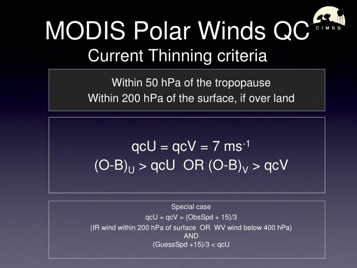 MODIS Polar Winds QC