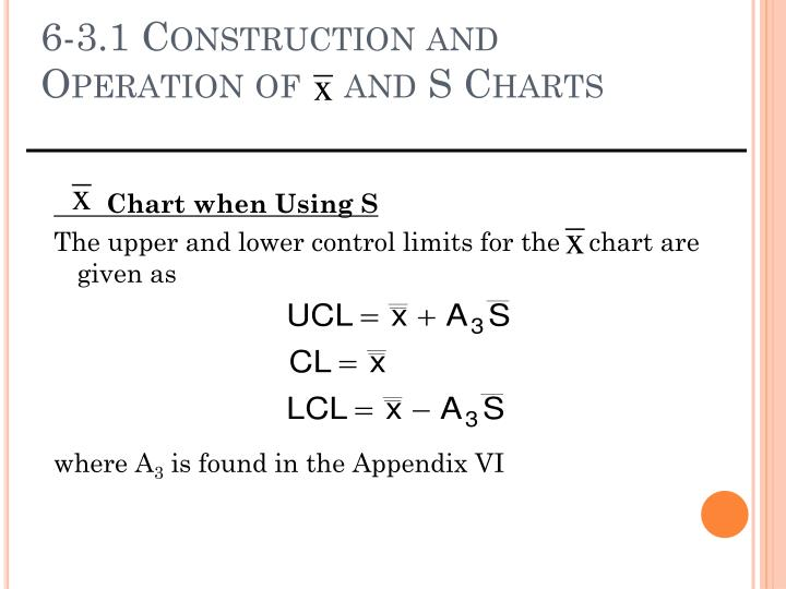 6-3.1 Construction and Operation of    and S Charts