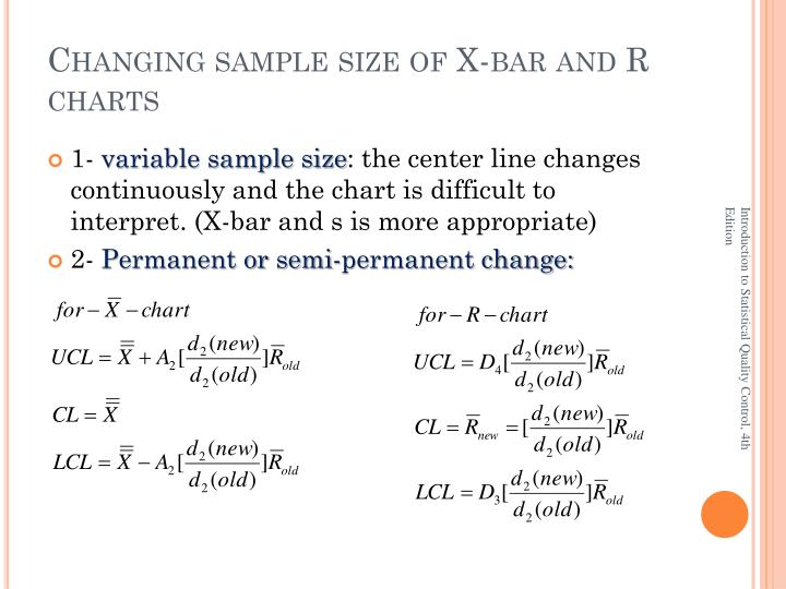 Changing sample size of X-bar and R charts