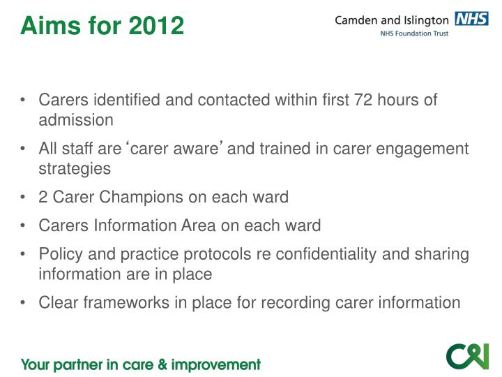 Aims for 2012