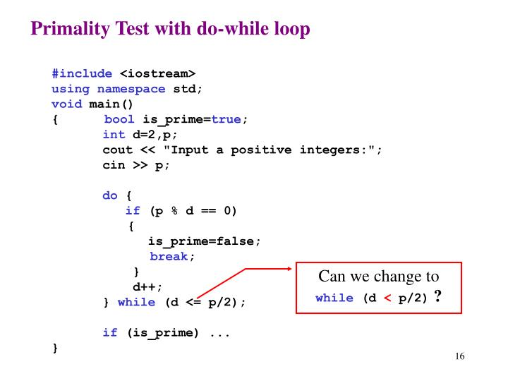Primality Test with do-while loop